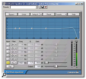 In this patch, the EQ is set up as a high-cut filter to reduce potential harshness caused by distorting high frequencies.