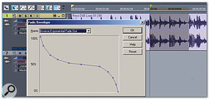 An S-curve fade, created by moving the nodes as desired and adding a few nodes, has been applied to a portion of the waveform.