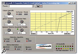 The Expander/Gate is a useful module for keeping noise under control. This is especially important because the use of heavy compression early in the signal chain tends to bring up any low-level noise.