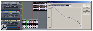Crossfade is about to be applied to two overlapping clips (the overlapping area is outlined in red for clarity). Note the custom curve, and the fact that the tracks don't have to be numbered consecutively.