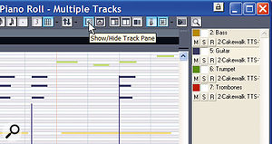 With the Track pane showing, you see a list of all tracks whose data is visible in the Piano Roll view. Within the Track pane you can also enable and disable editing for individual tracks.