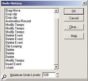 The Undo History window not only shows the various points to which you can return, but also lets you specify the number of levels of undo.