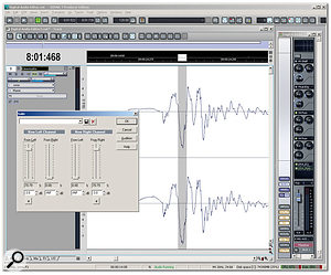 Here's the window layout I use for digital audio editing. Note the Master Strip to the right, with the Sonitus EQ set for subsonic removal, and the LP64 EQ and Multiband Dynamics processors inserted to add effects. On the waveform itself, a rogue peak is about to be reduced by a few dB so that normalisation can produce a higher average level without compressing or limiting.