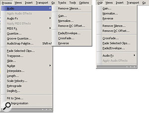 Simplifying menus so that they show only essential functions helps improve efficiency. Any of the functions in the left-hand menu that aren't present in the right-hand menu simply aren't needed for digital audio editing.