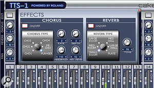 Using the TTS1's chorus and reverb can add more character to sounds, particularly because these effects sound different compared to the other ones bundled with Sonar.