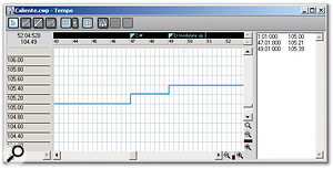 In this example, the tempo changes in tandem with a key modulation, speeding up very slightly (0.20bpm) each time the key modulates upward.