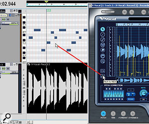 The audio clip has been converted to a V-Vocal clip, and its MIDI note data is being dragged to a MIDI track. The MIDI track is in PRV (Piano Roll View) mode.