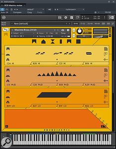 Maximo's Brass instrument, running in an instance of Kontakt. The three graphic-score phrase areas are easily spotted, and Kontakt's keyboard reveals the extensive (and widely spaced) key group implementation. It's possible to load other orchestral sections alongside, in the same Kontakt instance; their key groups complement one another to allow for concurrent use.