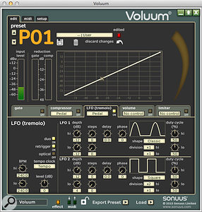 The LFO page reveals the awesome complexity of the Voluum's dual-LFO tremolo!