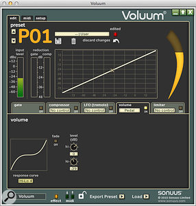 Even when used as a  volume pedal, the Voluum is completely customisable, from the pedal's response curve to the level set at either extreme of its travel.