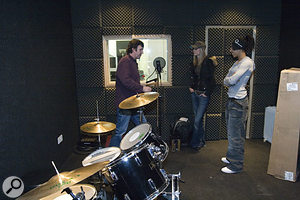 The live room had three of its walls covered in carpet, while the other wall was covered with acoustic foam tiles of different thicknesses. The very selective high-frequency absorption of the carpeting combined with the lack of any bass trapping conspired to produce a coloured recorded sound, with a pronounced vocal 'honk' at around 300Hz.