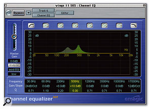 The impact of a bass sound was increased using compression, the attack time being adjusted to let the start of each note come through cleanly. Some EQ was also used to increase the sense of body and character.