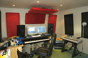 The completely overhauled studio setup, complete with acoustic treatment.