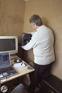 The stereo imaging was being compromised because Rob hadn't angled his speakers in towards the monitoring position, so Hugh quickly remedied this.