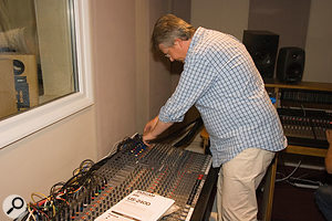 The analogue console was largely redundant for mixing purposes, so it was moved to a new table in its original location, and replugged for making monitor mixes and for recording from the live room.