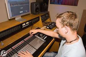 Once the team had helped Paul Roy to set up his new Tascam moving-fader control surface, it became much quicker to mix with large numbers of tracks.