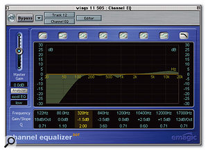 Here you can see the settings used to process the lead vocal. The Oak Forest reverb patch was adapted to get the vocal to sit in the mix, while the compressor made the sound more even and intimate. EQ was then dialled in to emphasise breathiness and reduce an undesirable mid-range coloration.
