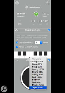 A very cool feature of the DAW Tools app is the ability to assign different vibration waveforms (distinct from the timing vibrations) to specific MIDI Note values across an octave. This can be used to set up a  'cue' track in your DAW. Simply insert note values on a  MIDI track at specific bar positions in the song, and waveform vibrations will be sent to the Pulse to notify you that you've reached that bar. It's a  handy feature to save you counting bars through a  long solo section, for  example.