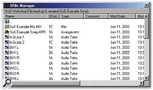 Soundscape's SFile Manager. The current SFolder contains two SFiles named BV1 L and two SFiles named BV1 R, stored on different SDisks (SDisk1A and SDisk2A). This would not be allowed in a Windows PC folder.