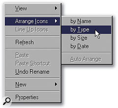 Using the Arrange Icons By Type option, you can group together SFiles according to their origin.