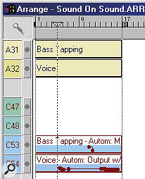 When the Mixer channels shown to the left were moved to columns 53 and 54, their corresponding Automation Parts in the Arrangement needed to be reassigned. With the Adopt Virtual Track Output Assignment When Moving/Copying Tracks option selected, clicking and dragging does it automatically.