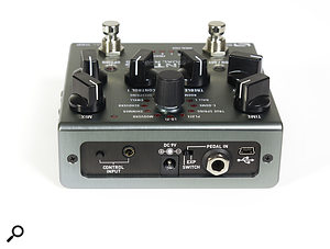 The rear panel includes a USB connection for use with the software editor, as well as a socket for an external footswitch or expression pedal.