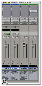 The template Session supplied by Source Elements illustrating how Source-Connect should be plumbed into a Pro Tools project.