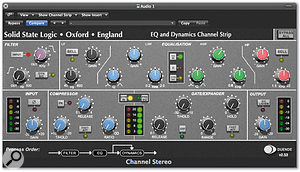 The SSL Channel Strip plug-in is supplied with the Duende Mini; other plug-ins are optional.