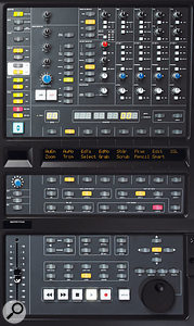 The 16 control buttons in the row above and the row below the display correspond to those shown in the software on the previous page and can be programmed to access most DAW commands. Also in this shot are the comprehensive monitor and routing facilities and a number of DAW control-surface facilities.