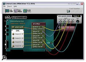 The settings on the External Links page determine how the hardware inputs are connected to the PCI card's input ports, and what's connected to the physical DAC outputs. Here's a good default setup that also displays DAC output pair 7/8 directly connected to input pair 7/8 to establish 'zero'-latency monitoring.