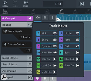 Group tracks are a  major new feature, and allow easy configuration of the tracks within a Group.