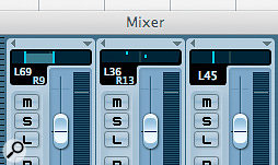 DAWs have different ways of setting the panning for stereo tracks: in Cubase (above) you can select different setups in the mixer, whereas in Logic you'd insert the Direction Mixer (right) on the track.