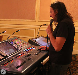 FOH and monitor sound engineer Ian Bond at his Midas Pro 2 during soundcheck.