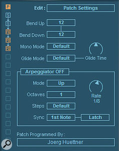 The Patch Overview Edit page offers basic control over parameters including pitch-bend, glide and the settings for the arpeggiator.