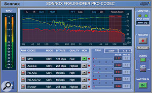 Specialised plug-in processors such as Sonnox's Fraunhofer Pro-Codec, Nugen Audio's MasterCheck Pro and the Codec Preview option in iZotope's Ozone 7 Advanced allow the potential side-effects of data compression to be evaluated in real time.