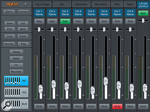 The DigiLive Remote app, available for iOS and Android, allows for remote control of the mixer.