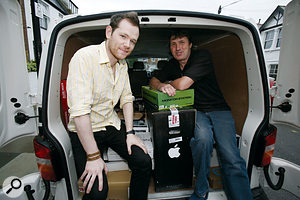 Our White van man pauses for a photo with SRT prize-winner Dean McCarthy, and the pile of tasty studio gear that made up his prize.