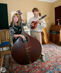 Simon Mayor (right) and Hilary James (left) have been playing the mandolin and the rather wonderful mandobass together for many years.