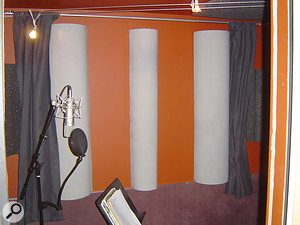 Cardboard-tube moulds were used to make effective and aesthetically-pleasing diffusers in both the control room and vocal booth.
