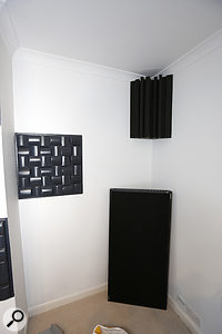 The room's low end was tamed with the help of two Real Traps lent across the bottom corners of the rear of the room, and two Universal Acoustics corner traps, which were placed at the wall/ceiling tricorners.
