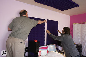 We used Auralex foam to tighten the image coming from the monitors, placing the foam on the rear wall behind the speakers, and above and to either side of the listening position to cut out unwanted reflections.