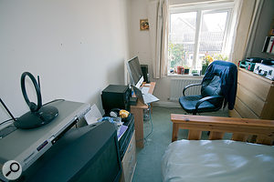 The main recording setup was located in one bedroom, and although Seb had upgraded some equipment, his speakers were poorly positioned and there was no acoustic treatment.