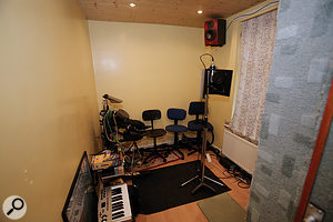 John's live room before the Studio SOS visit was far from ideal: the bare, reflective walls in most of the room, and carpeted ones in part of it, didn't pose problems for the V-Drums — but they did the acoustic recordings no favours!