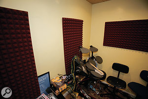 The worst of the live room problems were tamed with just three pieces of Auralex acoustic foam.