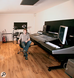 Kevin sits back in his newly-treated studio: with acoustic foam at the mirror points above, behind and either side of his speakers, he's in a much better position to start mixing histracks.