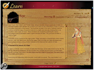Swarshala's Learn pane, also available as the stand-alone Swar Tutorial, is a beautifully designed interactive tool for learning about Indian music.