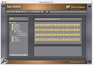 Each Swarplug instrument comes with a comprehensive library of MIDI file loops, which can be previewed and auditioned in the Swar Librarian application, then loaded into your sequencer.