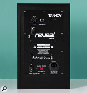 The rear panel of the Reveal 601A, which includes HF EQ options to suit the room and the user.