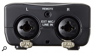 The DR-40X features two Neutrik combo sockets that can accept external mic or line sources.