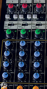 The first two channels offer high-impedance instrument inputs and insert points, while both of these and the following 10 channels also boast aone-knob analogue compressor, as well as the analogue three-band swept-mid EQ.